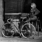 Pause der Radfahrerin